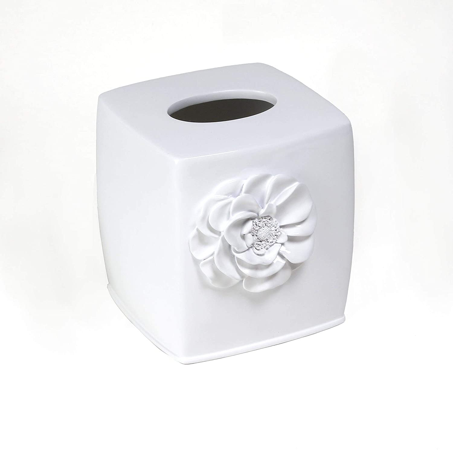 Saturday Knight Ltd Keila Rose Stylish Decorated Easily Fit & Ultra-Durable Everyday Use Soap Dish .89x3.77x5.53 - White