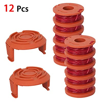 Zqasales 12 Pack Replacement Spool String Trimmer Line Feed Cordless Weed Eater Spools for Worx 10 Pack Spool and 2 Cap : Garden & Outdoor