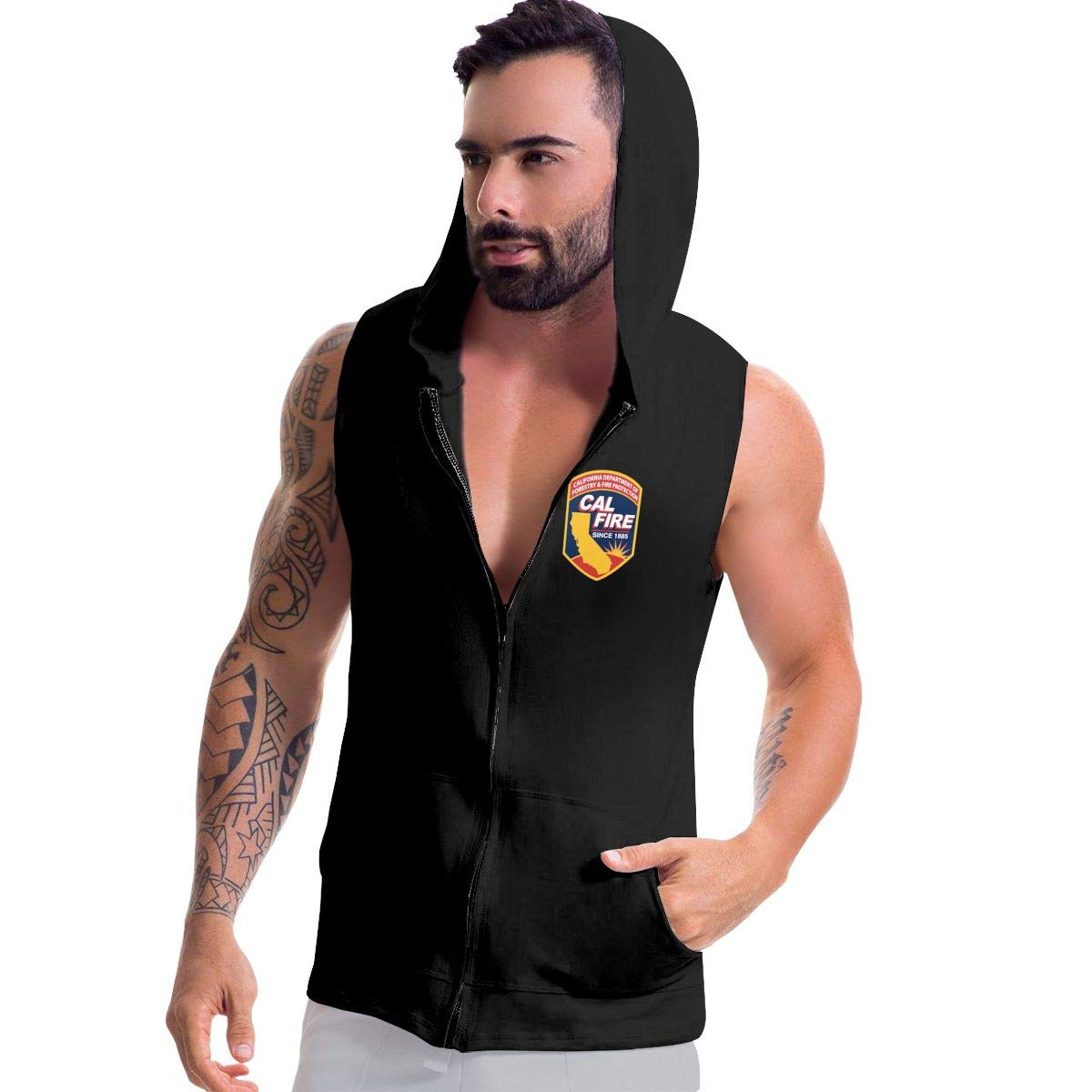 Ice-Long Out X Cal Fire California Strong Mens Fashion Sleeveless Zip-up Hoodie Black with Pocket