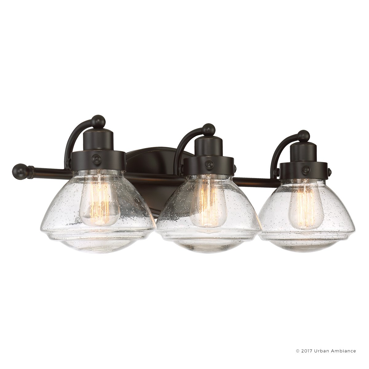 Luxury Transitional Bathroom Vanity Light, Medium Size: 8''H x 25''W, with Rustic Style Elements, Oil Rubbed Parisian Bronze Finish and Seeded Schoolhouse Glass, UQL2652 by Urban Ambiance