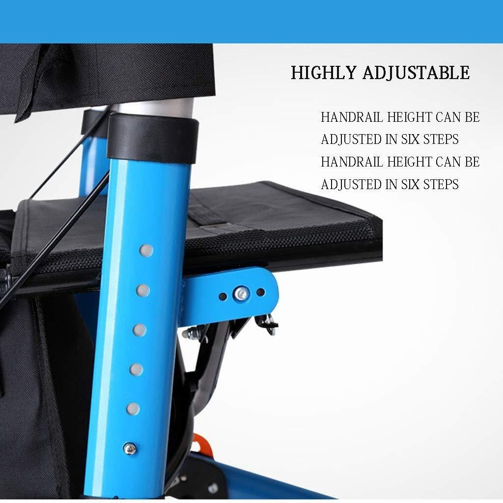 Rollator Walker Under Seat Storage Basket Height Adjustable Roller Double Safety Brake Auxiliary Walking Safety Walker (Color : Blue) by YL WALKER (Image #4)