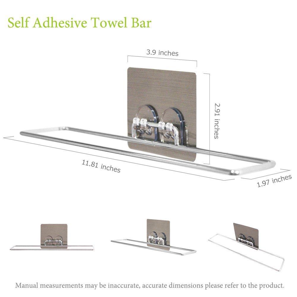 Plabingo Towel Bar Holder Wall Mount Self Adhesive Towel Rail with ...