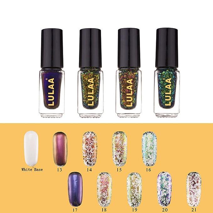 sunenjoy camaleón holográfico cristal roto efecto UV brillante esmalte de uñas Laca Chunky copos lentejuelas Manicura y Pedicura diseño accesorio 9 colores: ...