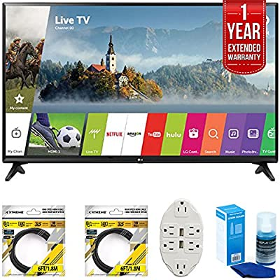 LG LJ5500 Class Full HD 1080p Smart LED TV 2017 Model with 2x 6ft High Speed HDMI Cable, Transformer Tap USB w/ 6-Outlet, Screen Cleaner for LED TVs & 1 Year Extended Warranty