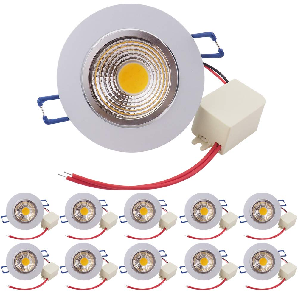 Pocketman (10 Pack)3.4 inch Dimmable LED Recessed Downlight,5W LED COB Energy Saving Recessed Ceiling Downlight kit With LED Driver(Warm White,2800K-3000K)