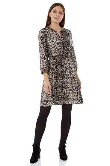 7fe1e057ef53 Roman Originals Women Animal Print Shirt Dress - Ladies Smart Casual Work  Office Wear Day A-Line Fit and Flare Floaty 3 4 Length Sleeve Notch Neck  Workwear ...