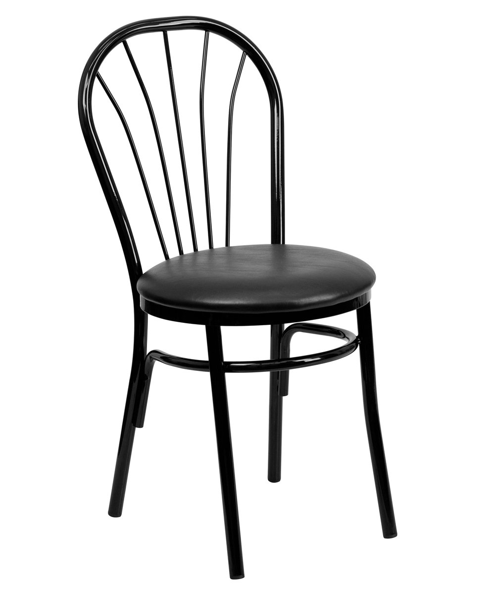Offex OFX-98996-FF Fan Back Heavy Duty Metal Restaurant Chair - Black Vinyl Seat