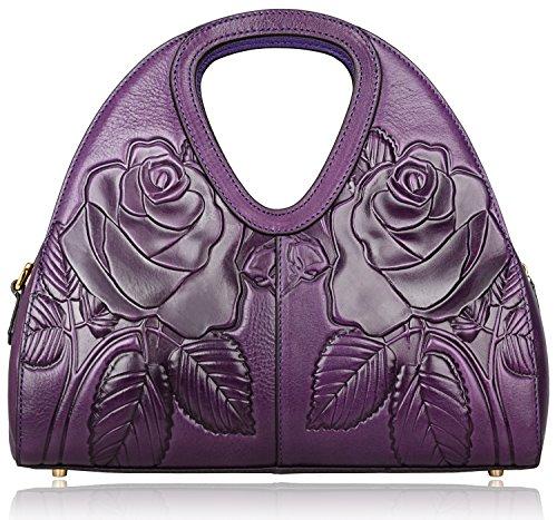 PIJUSHI Designer Fashion Ladies Leather Tote Shoulder Bags Top Handle Handbag 65308 (One Size, Violet Rose)