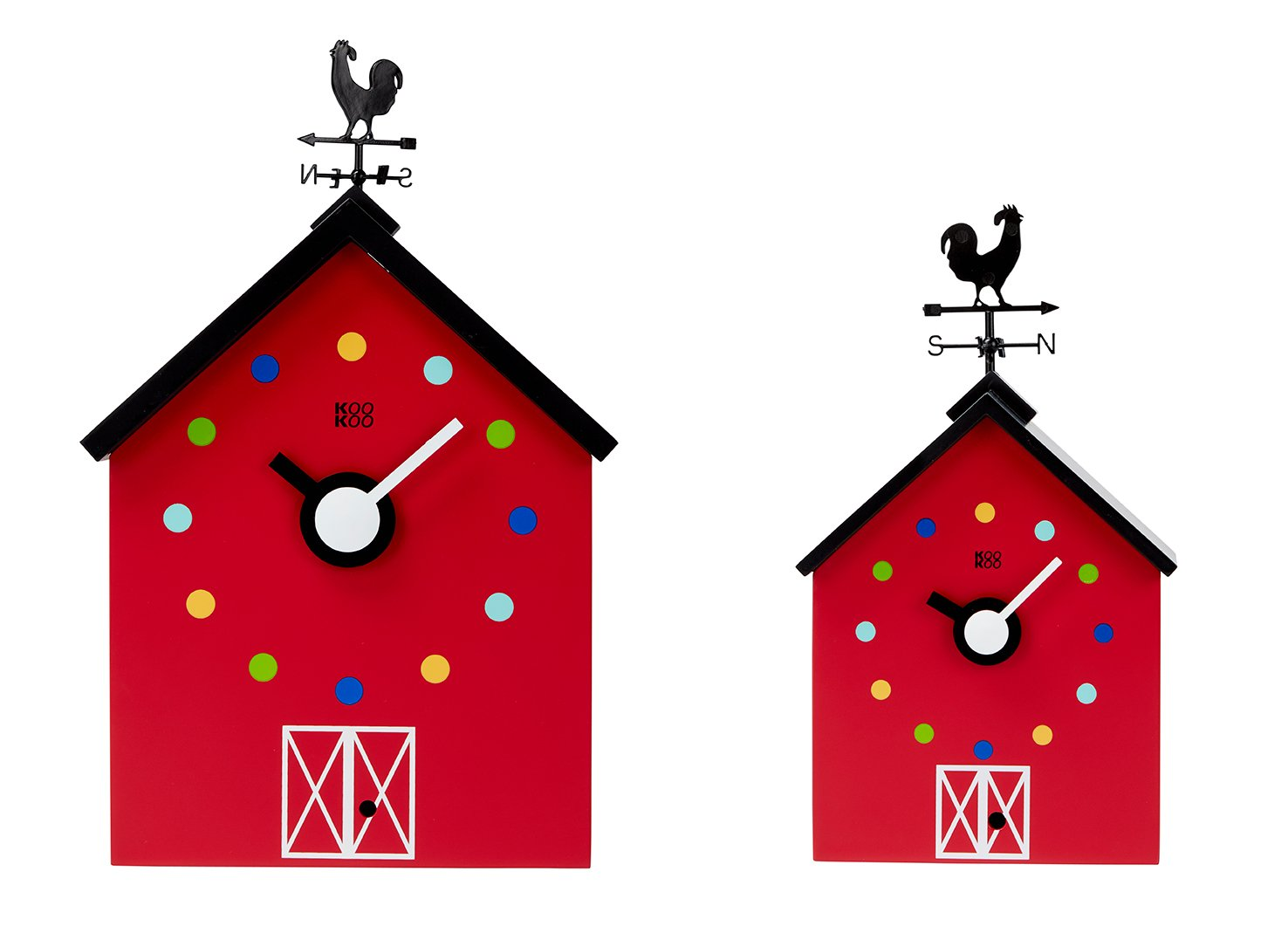 KOOKOO RedBarn Small, Cuckoo Clock, Farmhouse Clock Made of MDF Wood, Striking Design, Including 12 Farm Animals and a Rooster, Animal Voices Kids Present as of 6 Years