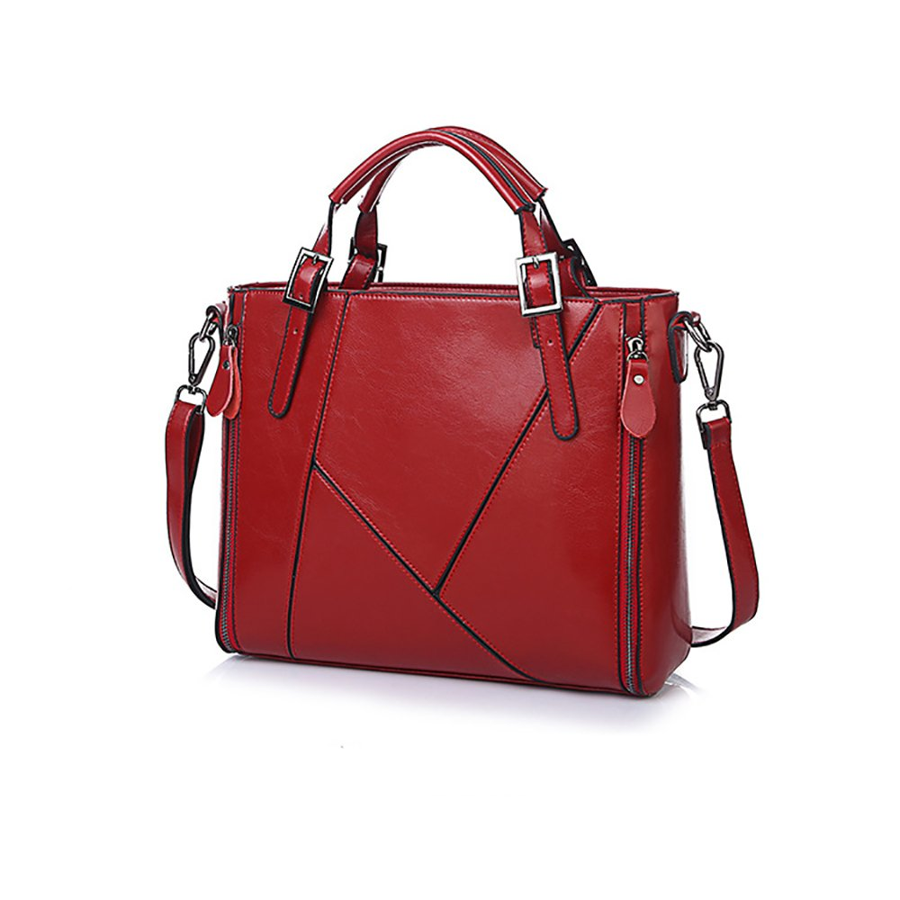 Amyannie Casual Oil Leather Waterproof Large-capacity Color Oblique Shoulder Bag (Color : Red) by Amyannie (Image #1)