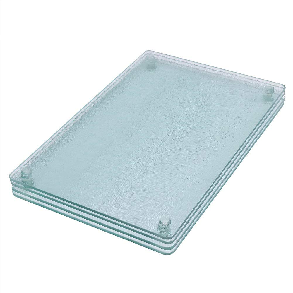"""Square Clear Tempered Glass Cutting Board Set, 4 Pcs, 7.75""""x11.75"""" Tableware Kitchen Decorative Trays with Non-slip Legs by Murrey home"""