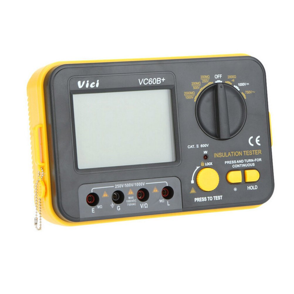 UKCOCO Digital Insulation Resistance Tester Backlight LCD MegOhm Meter