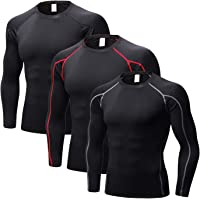 3 Packs Long Sleeve Compression Shirts for Men Active T-Shirts Baselayer Tops for Workout Athletic Performance Thermal