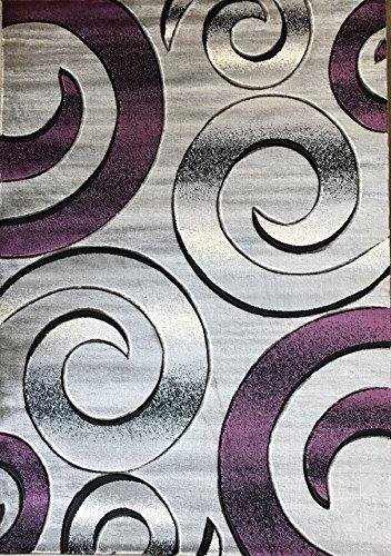 Modern Area Rug Plum Purple Black  Grey Carpet King Contemporary Design 416 (5 Feet X 7 Feet) (Purple And Black Area Rugs)