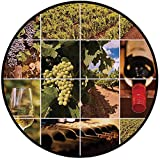 Printing Round Rug,Vineyard,Vineyard Landscapes Purple Grapes French Bottle Glass Rustic Cellar Couples Mat Non-Slip Soft Entrance Mat Door Floor Rug Area Rug For Chair Living Room,Green Red Brown
