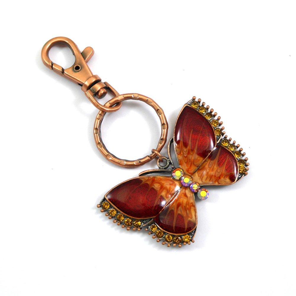 rougecaramel - Accessoires de mode - Porte clef / bijou de sac émaillé et strass papillon - orange
