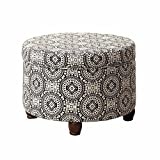 Black and White Ottoman HomePop K6427-F1604 Upholstered Round Storage Ottoman with Lid, 24