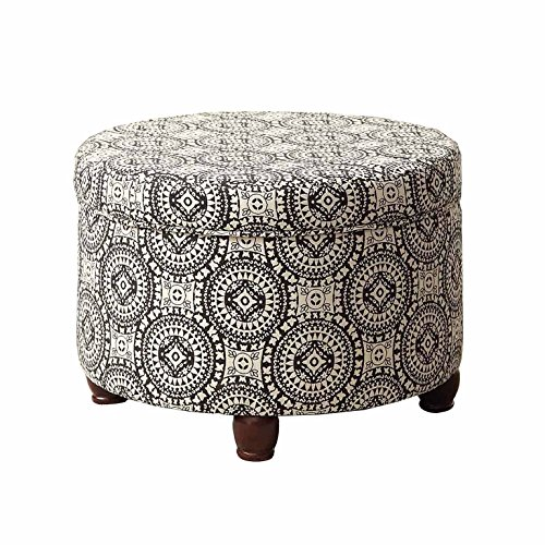 (HomePop Upholstered Round Storage Ottoman with Lid, Black and White Medallion)