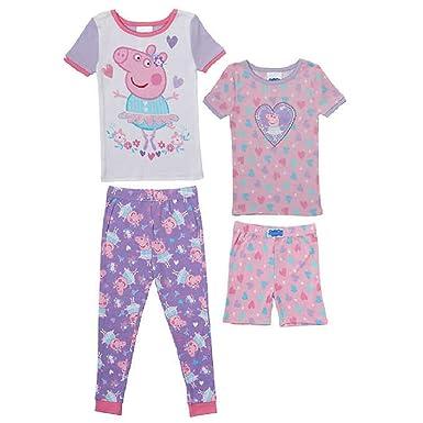 Amazon.com: Peppa Pig 4 piezas Pijamas Conjunto de pijama ...
