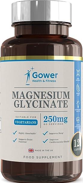 Glicinato de Magnesio 250mg - 120 Cápsulas Vegetarianas (2 MESES DE SUMINISTRO) - Alta Biodisponibilidad de Magnesio - Fabricado en UK en instalaciones con ...