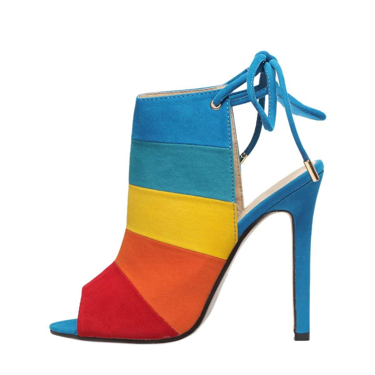 Women's Slingbacks Peep Toe Stilettos High Heels Shoes Roman Lace-up Sturdy Pumps Rainbow Fish Mouth Sandals (Multicolor, 7)