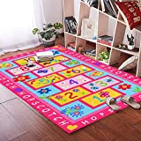 HEBE Kids Area Rug Alphabets and Numbers Pink Children's Rugs Baby Nursery Rugs Carpet for Girls Bedroom Playroom Play Mat School Classroom Learning Carpet Educational Rug
