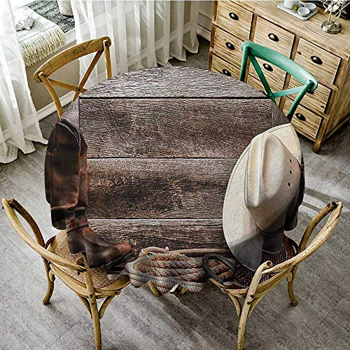 familytaste Wrinkle Free Tablecloths Western Decor Collection,American West Rodeo Traditional Straw Cowboy Hat with Authentic Leather Boots Print,Beige Brown D 60
