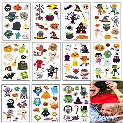 Cute Halloween Pumpkin Designs (11 Sheets Cute Designs Halloween Waterproof Temporary Tattoos Monsters Pumpkins Skull Tattoo Stickers Halloween Party Favors Accessory Supplies for Kids Children)