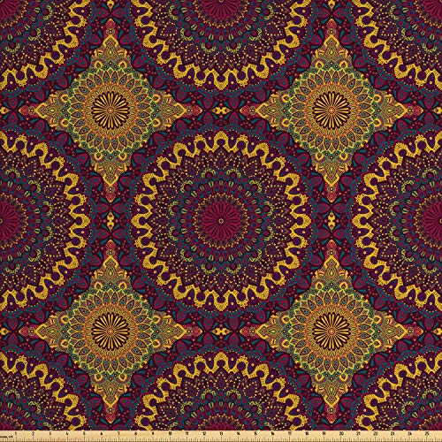 Ambesonne Moroccan Fabric by The Yard, Oriental Art Style Mandala Motifs Vintage Design Tribal Inspirations, Decorative Fabric for Upholstery and Home Accents, 2 Yards, Plum Petrol Blue Yellow ()