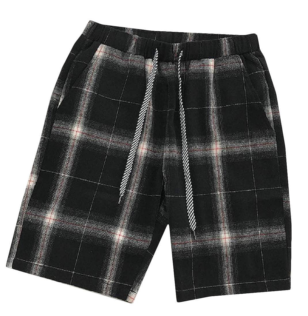 Joe Wenko Mens Elastic Waist Plaid Straight Leg Beachwear Drawstring Short Pants