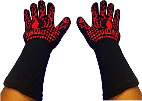 Barbecue-1 Pair 1472/°F Extreme Heat Resistant Gloves BBQ Kitchen Silicone Oven Mitts for Cooking BBQ heat gloves Baking Grill Grilling Gloves with Cut Resistant Frying