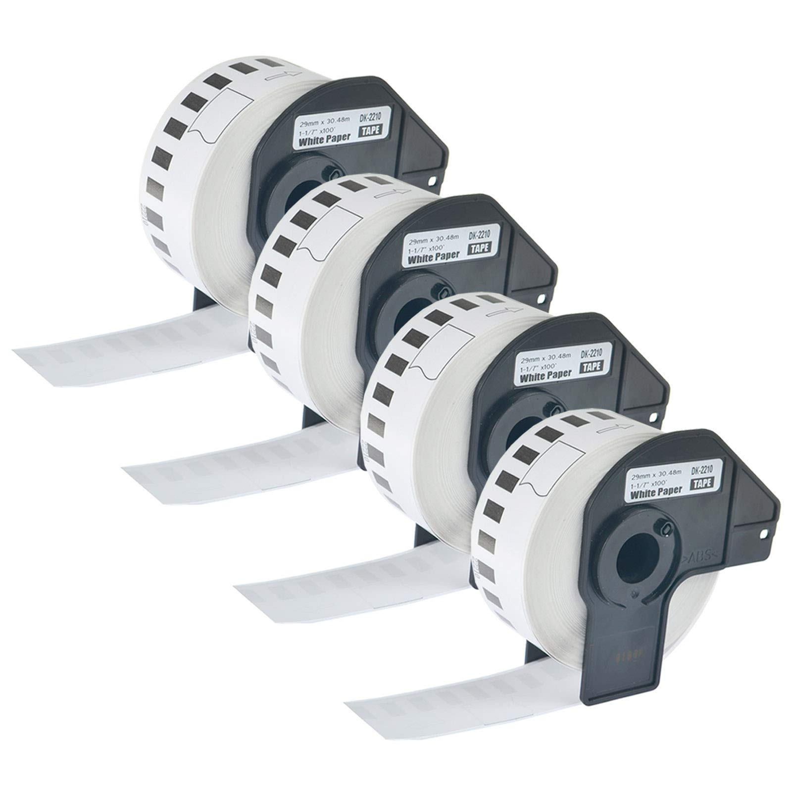 KCYMTONER 4 Rolls of Compatible Brother DK-2210 DK2210 Black on White Continuous Length Shipping Label Paper for P-Touch QL-550 QL-560 QL-1050 QL-1050N QL-1060N Series Printer,29mm x 30.48m /roll