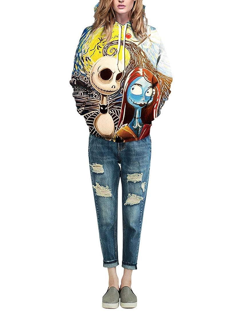 Yayun Loveinus Women Loose Halloween Printed Hoodie Long Sleeve Skinny Plus Size Unisex Pullover Hoodie