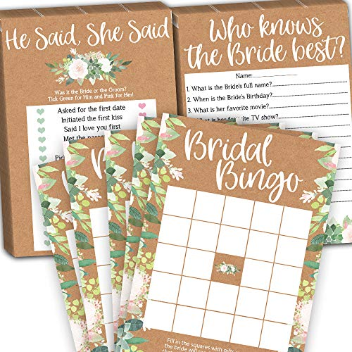 Bridal Shower Games Pack Bundle, Wedding Shower Games for Guest, Bridal Bingo, He Said She Said and Who Knows Bride Best, 25 Cards per Game (75 Cards Total), Fun Bridal -
