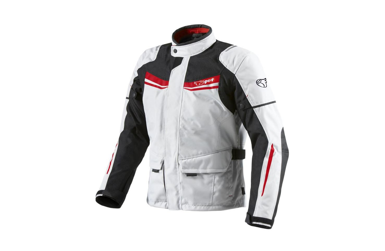 JET Mens White Textile Protective Motorcycle Motorbike Jacket Waterproof CE Armoured M , Blue//White 38-40