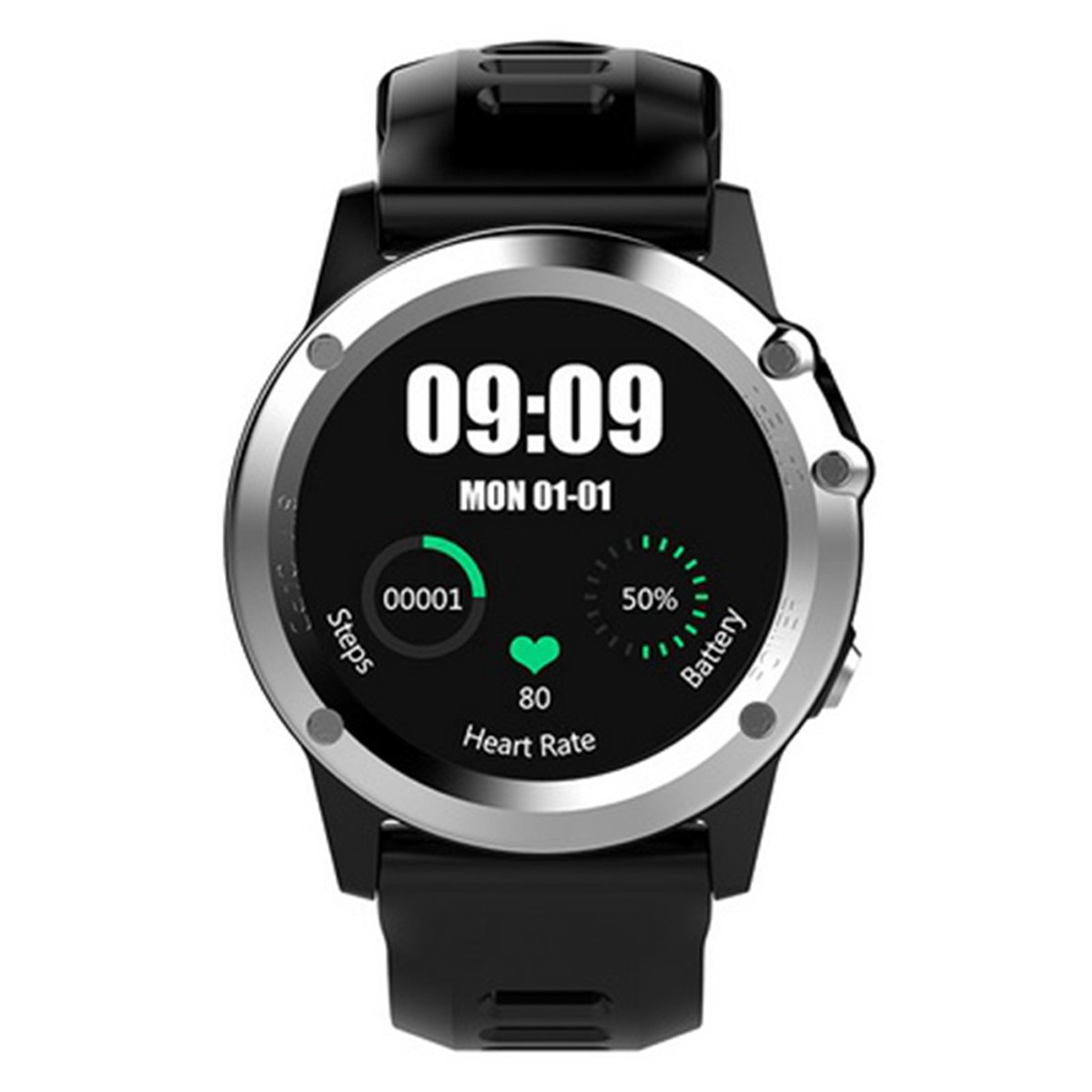 Bluetooth GPS Fitness Activity Tracker for IP68 Smartwatch with Heart Rate Sleep Monitor with 512MB and 4GB - Silver