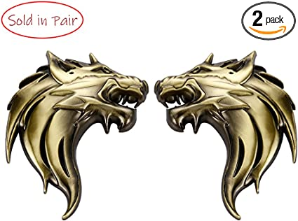 2pcs Gold Horse Metal Trunk Emblem Badge Decal Sticker Animal Badge 3D Lovely