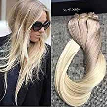 """Full Shine 18"""" 7 Piece per Set 160 Gram Remy Human Hair Clip in Weft Hair Extensions Ash Blonde Ombre Clip in Hair Extensions Human Hair From Color #18 Fading to Color #613 Blonde Clip in Extensions"""