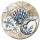 CounterArt Tide Pool Shells Glass Lazy Susan Serving Plate, 13''