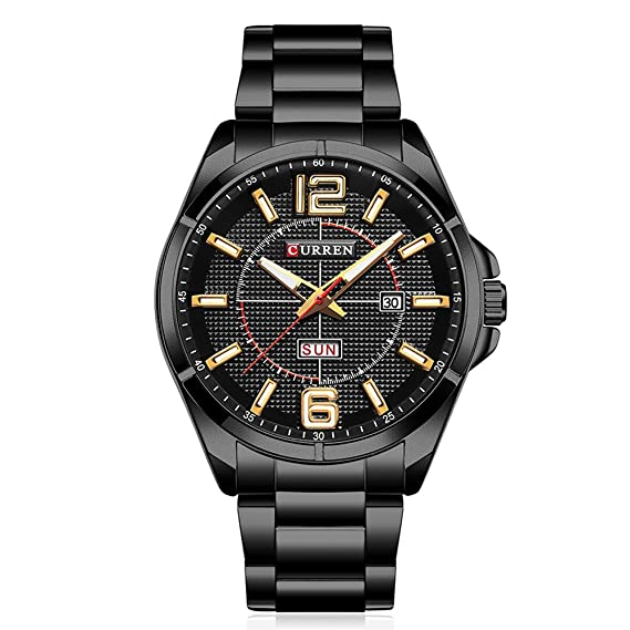Curren Reloj de Hombre, Reloj analógico - Digital para Hombre Top Brand Quartz (Metallic-Black)
