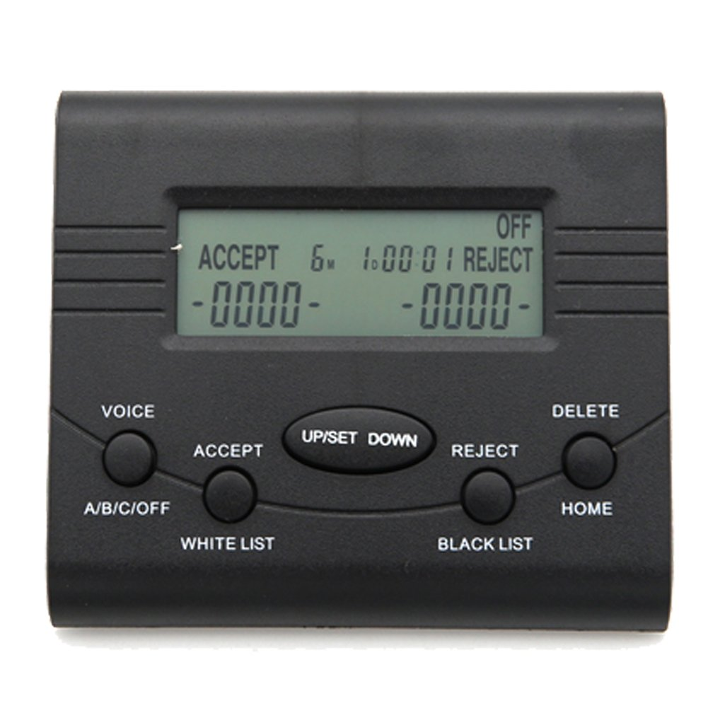 KerLiTar K-P024B Landline Phone Call Blocker Box Caller ID Display Device Blacklist/Whitelist FSK/DTMF Dual Signal Block Robot/Unwanted (Black)