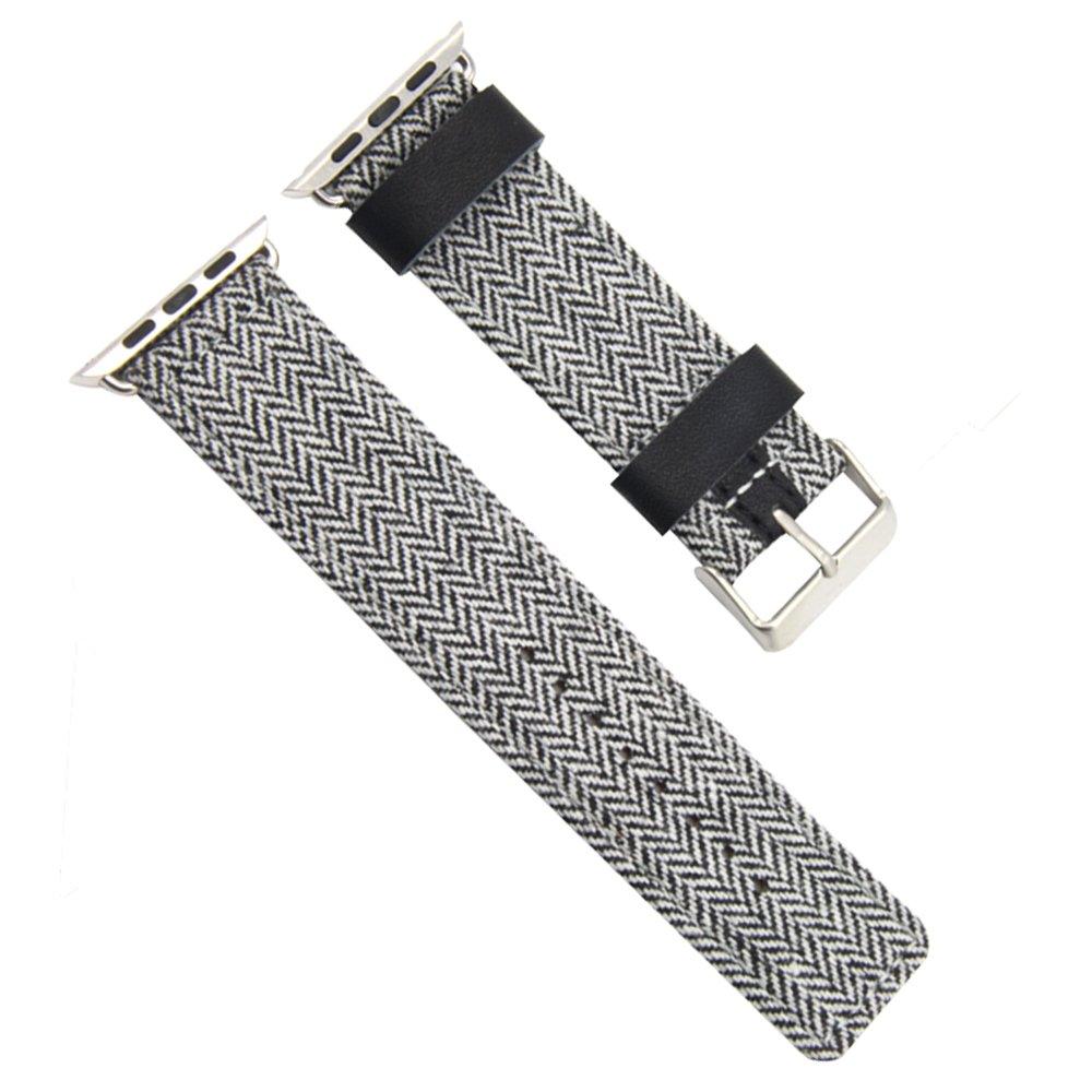 ハイエンド快適編みキャンバス時計バンドストラップfor Apple Watchシリーズ1 / 2 Sport Edition 38mm グレー 38mm グレー グレー 38mm B0761RNG7H