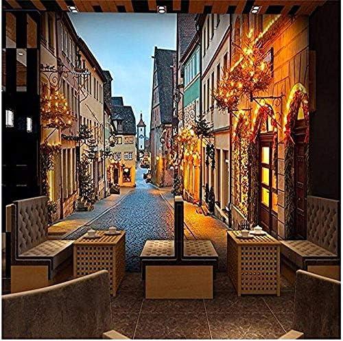 壁壁画3D壁紙ヨーロッパレトロストリートナイト写真壁紙リビングルームベッドルームソファテレビの背景-250x175cm