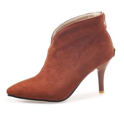 OALEEN Bottiness Femme Vintage Talon Aiguille Effet Daim Chaussures Boots  Pointu Hiver Camel Marron 32 6eacfb7565bd