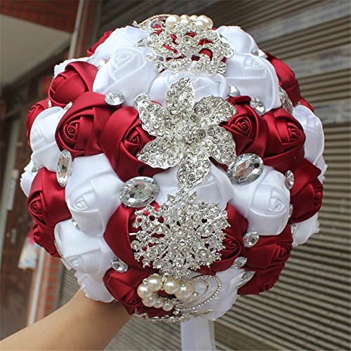 FYSTORE Advanced Customization Romantic Bride Wedding Holding Bouquet Roses with Bead & Diamond Accessory,18CM (Wine Red+White)