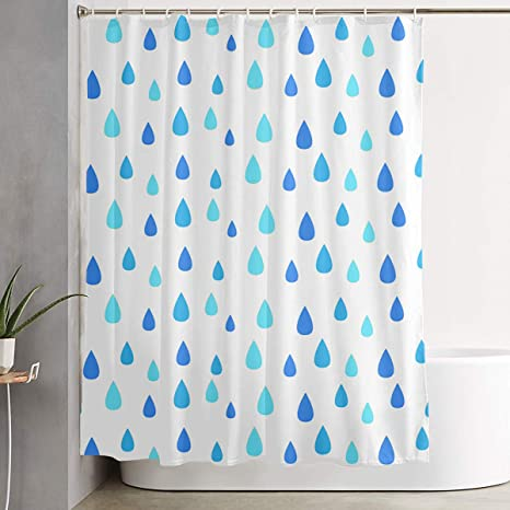 Olosaro Blue Raindrop Shower Curtain Waterproof Bathroom Decor Funny Novelty With Hooks 59 1 X 70 9 Inch Home Kitchen