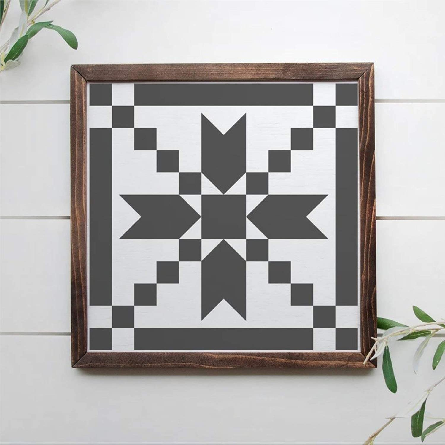 DONL9BAUER Barn Quilt Pattern, 12x12 Framed Wooden Sign, Rustic Wood Sign Wall Hanging Farmhouse Home Decor Wall Art
