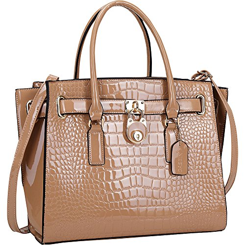 (Dasein Patent Croco Embossed Faux Leather Belted Medium Tote (Light Pink))