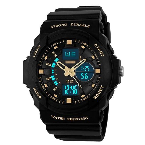 Deportes Relojes, Adolescentes Luminoso Reloj Digital, Impermeable Relojes de los Hombres, Moda Reloj de Pulsera-B: Amazon.es: Relojes