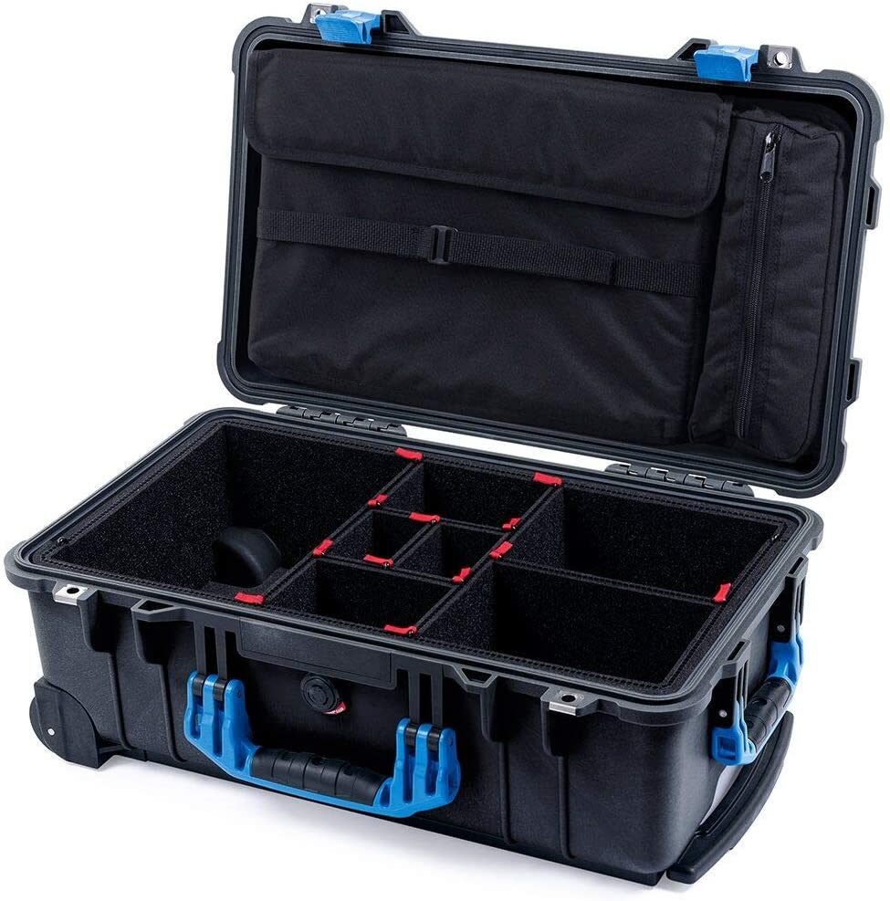 Black & Blue Pelican 1510 case with TrekPak dividers & Computer lid Pouch.